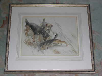 Large Rare Antique Border Terrier Dog Painting By George Vernon Stokes 1928
