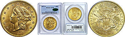1857-S $20 Gold Coin PCGS AU-58 CAC