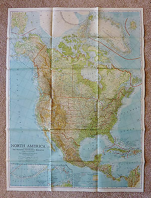 1924 NORTH AMERICA MAP from NATIONAL GEOGRAPHIC MAGAZINE ~ 28 x 38-Inch