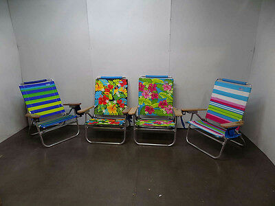 Lot Of 4 Rio Easy In And Out Beach Chairs, Assorted Colors