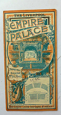 1903 Original Fold Out Theatre Programme For Liverpool Empire Palace Lime St
