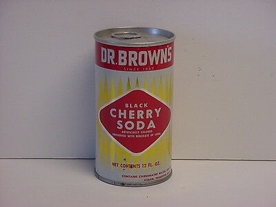 Vintage Dr. Brown's Black Cherry Soda Pull Tab Pop Can Bottom Opened