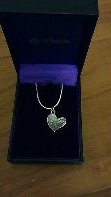 St justin pewter necklace with heart pendant