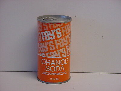 Vintage Fay's Orange Soda Straight Steel Pull Tab Bottom Opened Pop Can