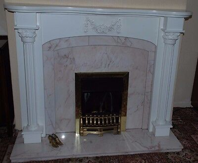 Fireplace surround and marble back panel and hearth - fire not incl