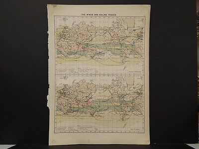 Mercantile Marine Atlas 1914 Original Color Winds & Sailing Tracks R4#61