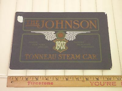 1907 JOHNSON Tonneau Steam Car Original Dealer Sales Brochure