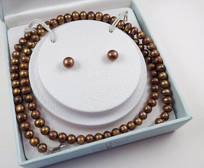 The Essential Pearl Necklace Earrings Set in Box Chocolate Freshwater Pearls