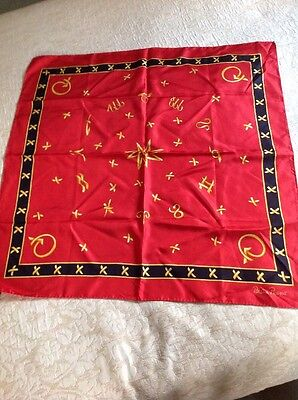 Paloma Picasso Red Black And Gold Silk Scarf