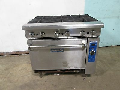 """IMPERIAL"" H.D. COMMERCIAL NATURAL GAS (6) BURNER STOVE/RANGE w/CONVECTION OVEN"