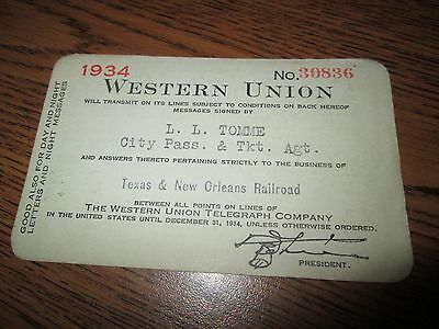 Antique Western Union Card 1934 Texas & New Orleans RR