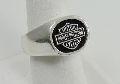 Sterling Silver Ring Harley Davidson Motor Cycles Logo Size 9 Handcrafted