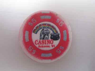 $5 RAINBOW CASINO Nekoosa WI RED Gaming Casino Chip for Vintage Collection