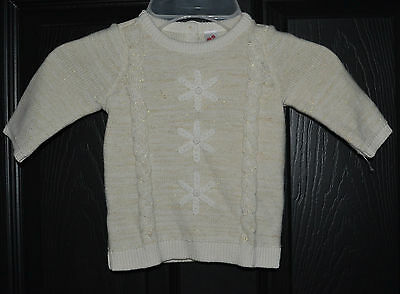 Cherokee Girls Gold Ivory Textured Cable Knit Sweater Size 0-3 Months
