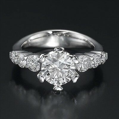 Genuine 14K White Gold Round Cut Enhanced Diamond Engagement Ring 1.80 CT H/SI1