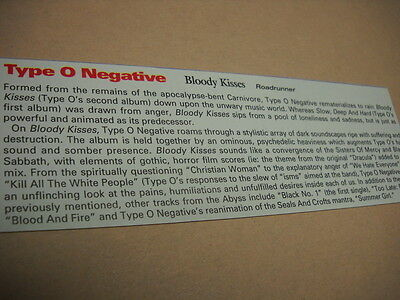 TYPE O NEGATIVE original 1993 music biz promo only album review BLOODY KISSES