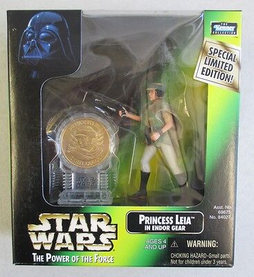 Mib 1998 Hasbro Star Wars Power Of The Force Princess Leia Endor Figure W/ Coin