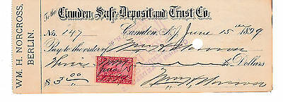 Antique Check Camden Safe Depoisit And Trust Co. New Jersey  Revenue Stamp