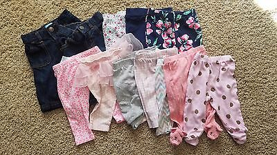 Lot of 12 baby girl pants tutu footed size 0-3 3 months carters