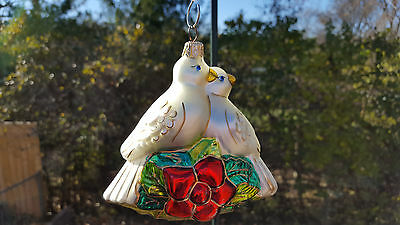Polonaise Two Turtle Doves   Blown Glass  Ornament  NEW