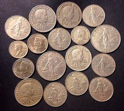 Old Philippines Coin Lot - 1962-1971 - 17 COLLECTIBLE Coins - Lot #J19