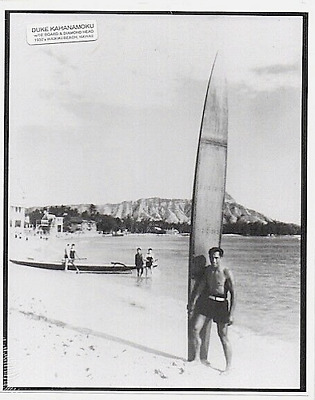 "Duke Kahanamoku Waikiki Oahu 1935+?  Hand Printed Photograph On 8X10"" Black Mat"