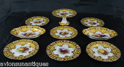 9 Piece Richard Seabright 1912 Royal Worcester Jewelled Fruit Dessert Service