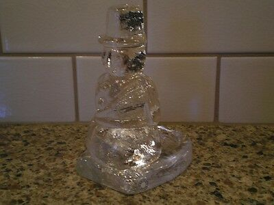 Snowman Candle Votive Holder Made in Sweden Crystal? Art Glass? PartyLite?