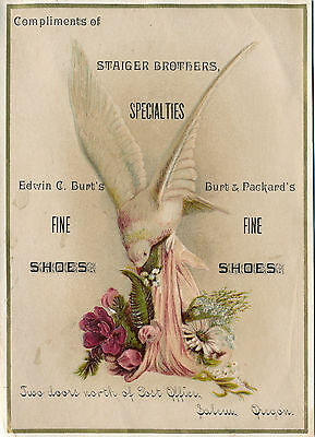 c1890-1899 Salem, OR Staiger Bros. Shoes Lithographed Victorian Trade Card, Dove