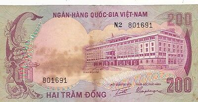 1972 South Viet-Nam 200 Dong Note, Pick 32a