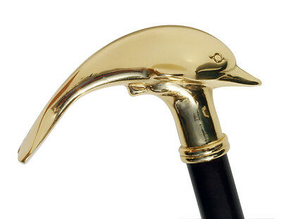 New Heavy Brass Dolphin Handle Sturdy Cane Wood Shaft Walking Stick Wooden Canes