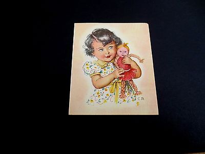 Unused 1944 Ars Sacra Xmas Greeting Card by Charlotte Becker Cute Girl with Doll