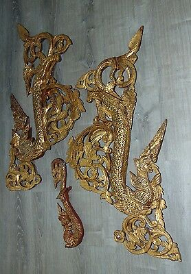 ANTIQUE ASIAN Burmese DRAGON Wooden Architectural Fragments PYINSA RUPA Gilt