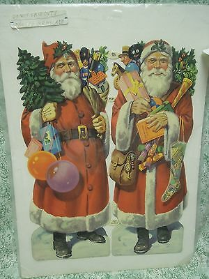 PAPER doll: 2 'SANTA CLAUS paper dolls in full color; printed in England  rm-243