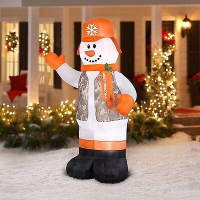 New Airblown Christmas Inflatable Hunter Snowman 7' Lighted Outdoor Yard Decor