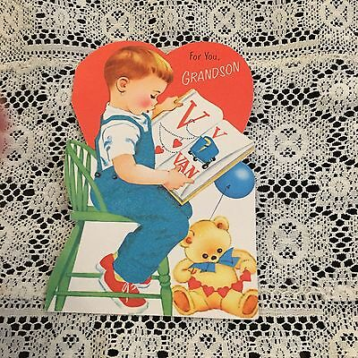 Vintage Greeting Card Cute Valentine Boy Chair Bear Toy Norcross