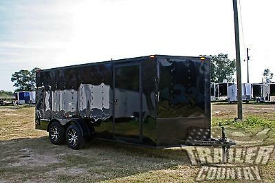NEW 2017 7x16 7 x 16 BLACKOUT V-Nosed Enclosed Cargo Motorcycle Trailer Ramp