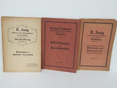 3 Antique R. Jung Microscope Microtome Catalogs Heidelberg Germany