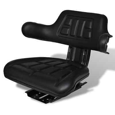 S# Universal Black Leather Tractor Seat Excavator Truck Spring Back Arm Rest Foa