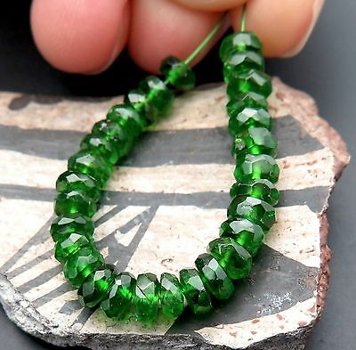 29 FANTASTIC GEMMY RARE AAA+ 4.2-4.8mm RICH GREEN NATURAL CHROME DIOPSIDE BEADS