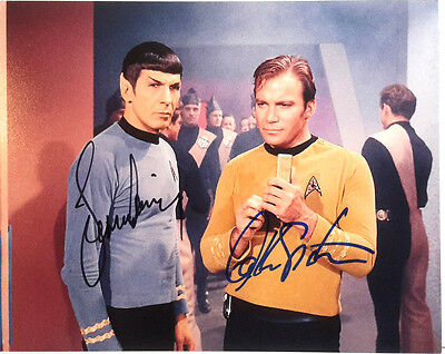 Star Trek  Autograph 8x10 Photo Signed Leonard Nimoy & Will Shatner(EBAU-1297)
