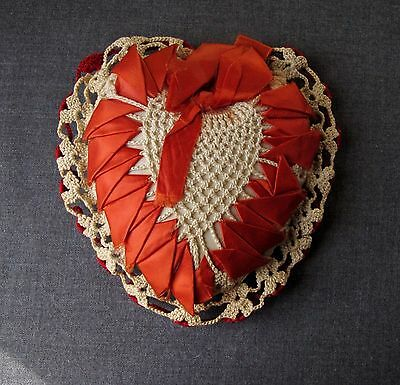 Vintage Red & Creamy Ribbonwork & Crocheted Heart Shaped Large Pin Cushion