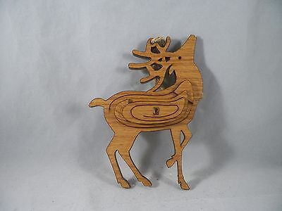 Wooden Reindeer Standing with Head Raised Christmas Tree Ornament new holiday