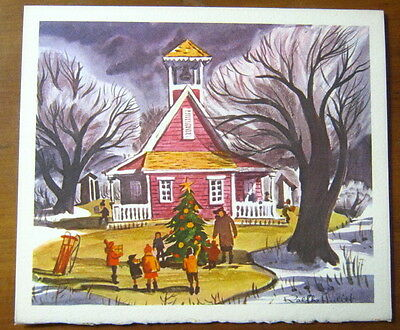 Vintage unused 1950s Ralph Hulett Schoolhouse Tree Christmas card, Disney Artist