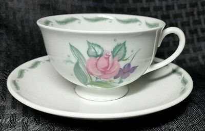 Susie Cooper Fragrance Cup & Saucer Set C485 Pink Purple Flowers Green Fern Leaf