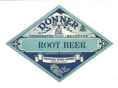Donner Brand  Root Beer Label Truckee Soda Works Truckee, California