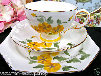 Paragon Tea Cup And Saucer Trio Painted Yellow Floral Trio Teacup Pattern