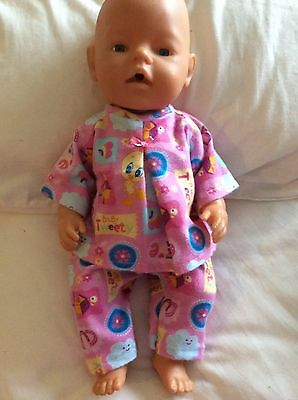 "DOLLS CLOTHES - Pyjamas to fit 17"" Baby Born doll ~ Pink ~ Baby tweet"