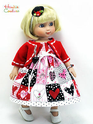 Valentine's Day Hearts Doll Fits Ann Estelle Patsy Tonner Hankie Couture Dress