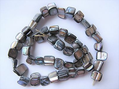 "Grey AB mother of pearl MOP shell square beads 15"" 8mm"